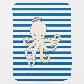 Octopus Blue and White Horizontal Stripe Receiving Blanket