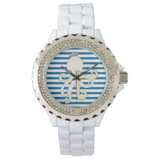 Octopus Blue and White Horizontal Stripe Wrist Watches