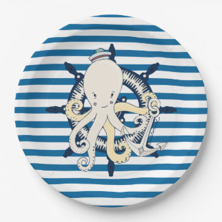 Octopus Blue and White Stripe Paper Plates 9 Inch Paper Plate