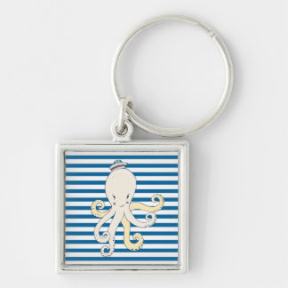 Octopus Blue and White Stripe Silver-Colored Square Key Ring