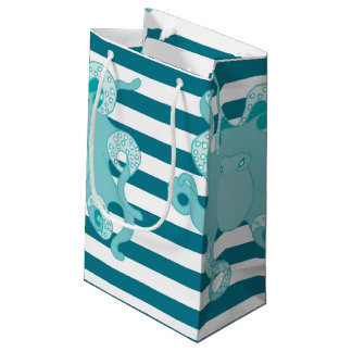 Octopus Blue Bold Stripes Gift Bag