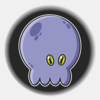 Octopus blue round sticker