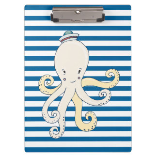 Octopus Blue White Stripe Clipboard