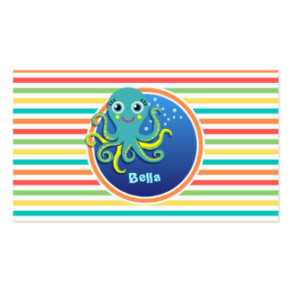 Octopus Bright Rainbow Stripes Business Card Template