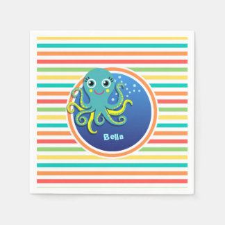 Octopus; Bright Rainbow Stripes Paper Napkin