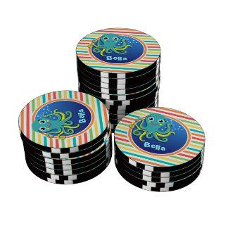 Octopus; Bright Rainbow Stripes Poker Chips