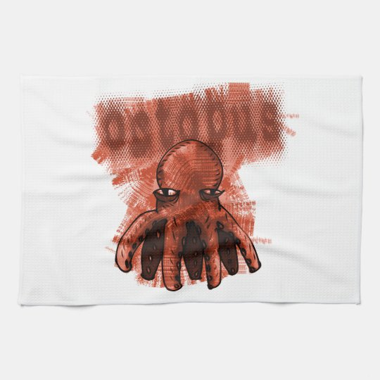 octopus cartoon style illustration tea towel