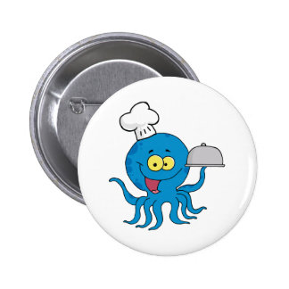 Octopus Chef Serving Food In A Sliver Platter 6 Cm Round Badge