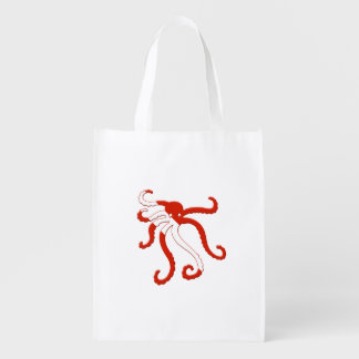 Octopus dive silhouette reusable grocery bag