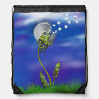 Octopus Dreams Collection, Dandelion Graphic Drawstring Bag