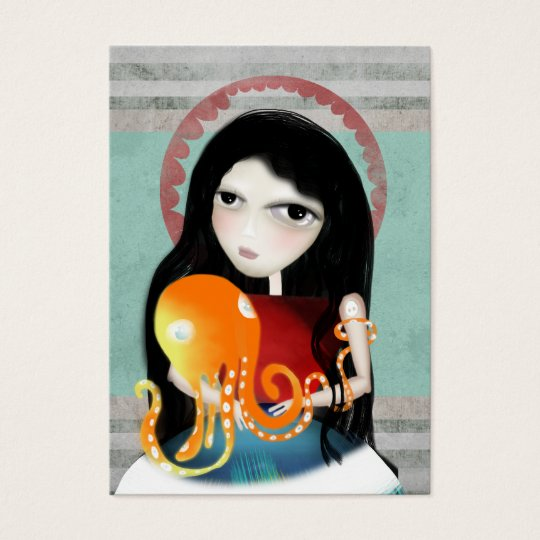 Octopus girl old new fashion business card