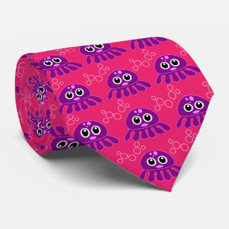 octopus girl purple with red background tie