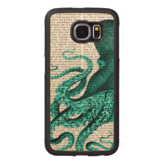 Octopus Green Half Wood Phone Case