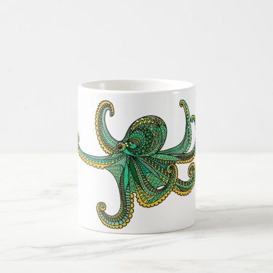 Octopus green yellow teal gold ocean sea life