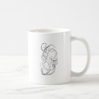 Octopus Ink Drawing Black and White Basic White Mug