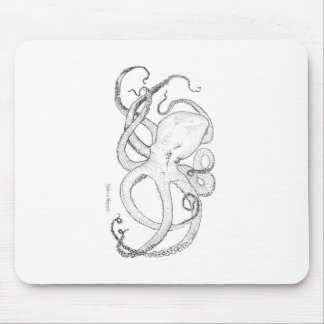 Octopus Ink Drawing Black and White Mouse Pad
