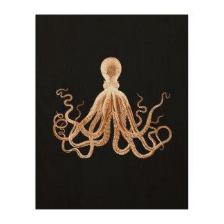 Octopus kraken black coastal watercolor wood wall art