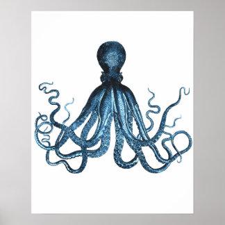 Octopus kraken ocean sea beach nautical coastal poster