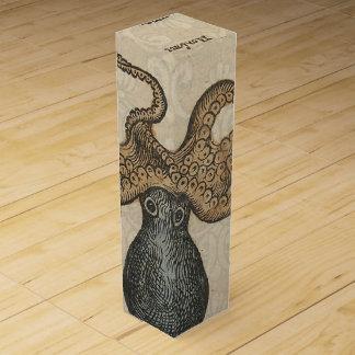 Octopus Kraken vintage scientific illustration Wine Bottle Box