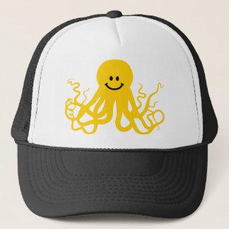 Octopus / Kraken Yellow Smiley Trucker Hat