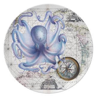 Octopus Map Nautica Plate