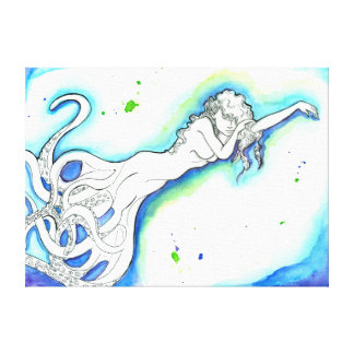 """Octopus Mermaid"" Outstretched Canvas Wrap"