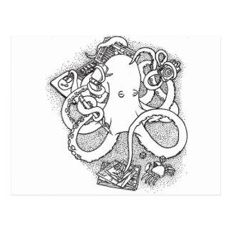 Octopus multi-tasking postcard