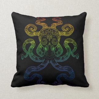 Octopus Nautical Art Floral Rainbow Pride Black Cushion