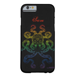 Octopus Nautical Art Rainbow Pride Black Name Barely There iPhone 6 Case