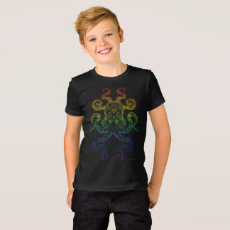 Octopus Nautical Art Rainbow Pride Grey Black T-Shirt