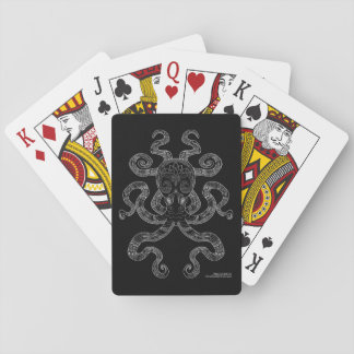 Octopus Nautical Ocean Art Outline Grey Black Playing Cards