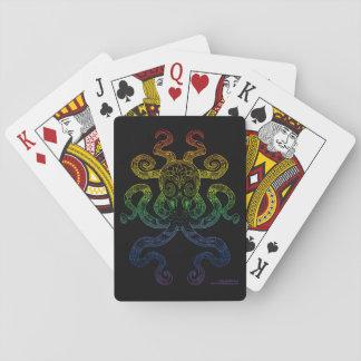 Octopus Nautical Ocean Art Rainbow Pride Black Playing Cards