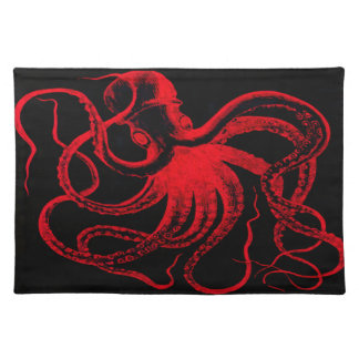 Octopus Nautical Steampunk Vintage Kraken Monster Place Mats