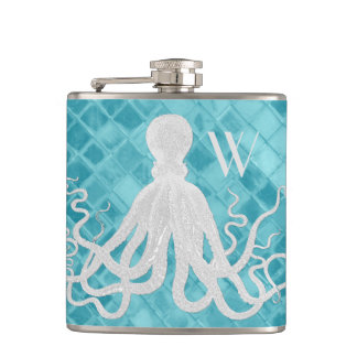 Octopus on Aqua Sea Glass Monogram Hip Flask