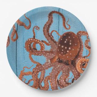 Octopus on Blue Board Paper Plate