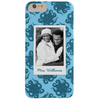 Octopus On Blue Pattern | Your Photo & Name Barely There iPhone 6 Plus Case
