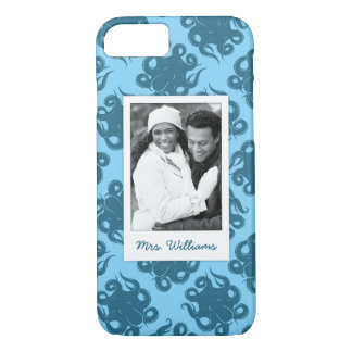 Octopus On Blue Pattern | Your Photo & Name iPhone 8/7 Case