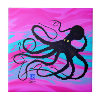 Octopus On Pink & Blue R - Small Ceramic Tile