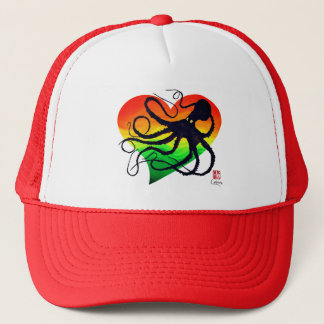 Octopus On Red To Green - Trucker Hat
