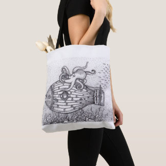 Octopus on the Submarine Tote Bag