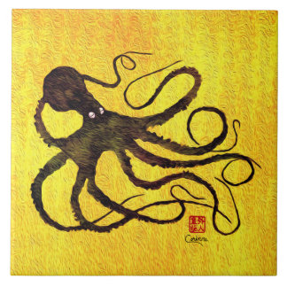 Octopus On Yellow L - Large Ceramic Tile