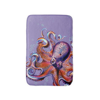 Octopus Orange and Purple Bath Mat