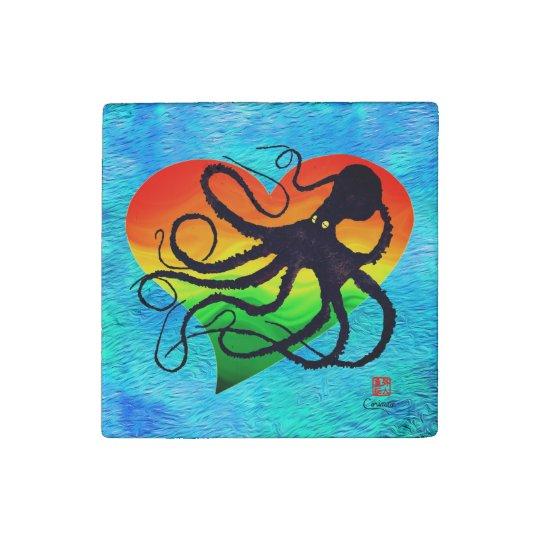 Octopus Orange To Grn ❤ On Blue - Marble Magnet