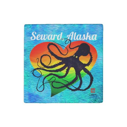 Octopus Orange To Grn ❤ On Blue Seward - Magnet