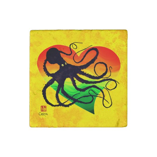 Octopus Orange To Grn ❤ On Yellow - Marble Magnet