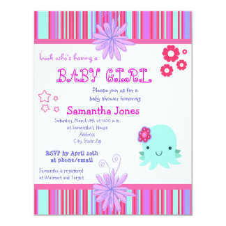 Octopus Pink Baby Shower Invitations