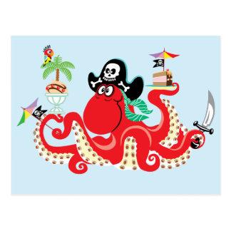 octopus pirate postcard