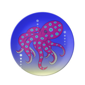 octopus sea beautiful  illustration plate