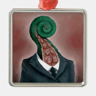 Octopus Silver-Colored Square Decoration