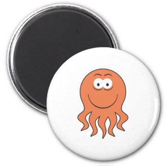 Octopus Smiley Face 6 Cm Round Magnet
